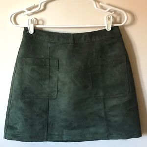 Moss Green faux suede skirt